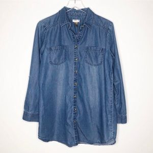 Chico's | Blue Chambray Button Down Tunic Size M